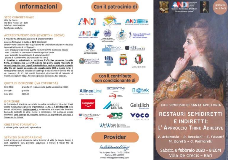 ANDI Bari - XXXIII Simposio Santa Apollonia - Restauri semidiretti e indiretti: l'approccio Think Adhesive
