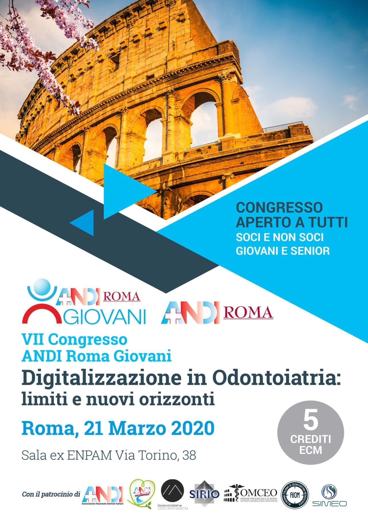 """VII CONGRESSO ANDI ROMA GIOVANI  dal titolo """"Digitalizzazione in Odontoiatria: limiti e nuovi orizzonti"""""""