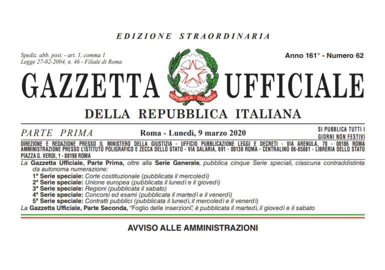 In Gazzetta Ufficiale il Decreto n°18 del 17.03.2020