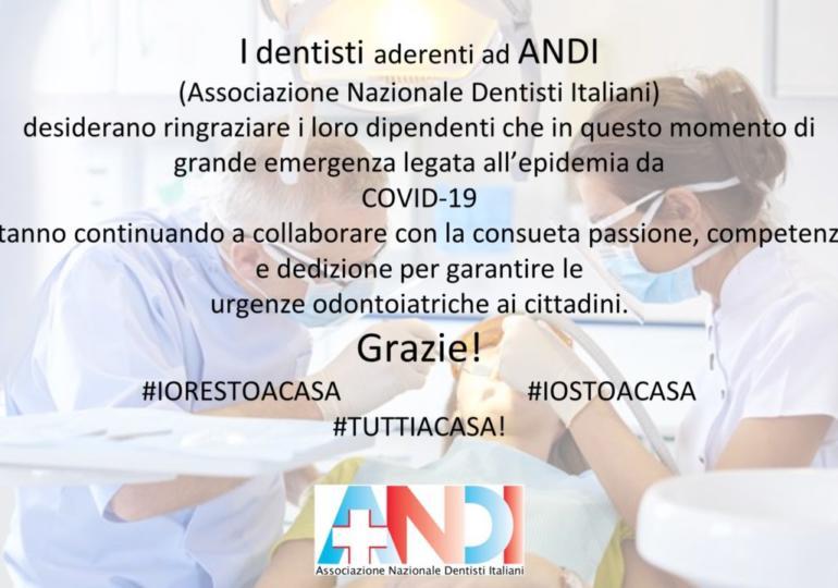 Il grazie dei dentisti ANDI al proprio personale di studio